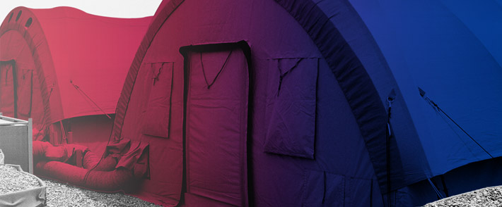 Mobile heating and cooling for tents and containers