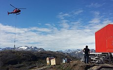 Dantherm Flexibox with helicopter to site in Greenland.
