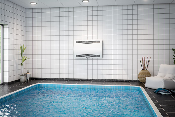 Swimming pool dehumidifier on the wall